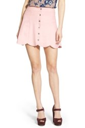 Lovers Friends Blue Moon Faux Suede Skirt Pink