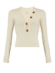 Khaite Gloria V Neck Ribbed Knit Sweater Ivory