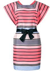 Emporio Armani Striped Belted Dress Pink