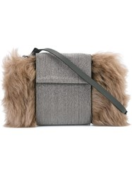 Brunello Cucinelli Fur Detail Crossbody Bag Grey