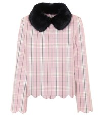 Shrimps Plaid Cotton Jacket Pink