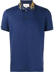 Gucci Tiger Embroidered Polo Shirt Blue