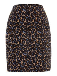Biba Leopard Print Jacquard Zip Detail Skirt Multi Coloured Multi Coloured