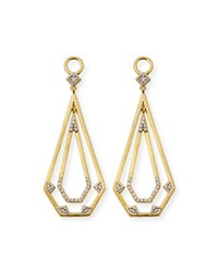 Jude Frances 18K Lisse Elongated Pentagon Drop Earring Charms Gold