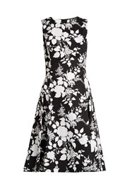 Oscar De La Renta Rosebush Print Sleeveless Cotton Dress Black White