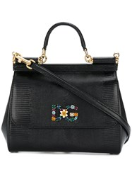 Dolce And Gabbana Medium Sicily Tote Leather Metal Other Glass Black
