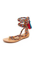 Soludos Gladiator Lace Up Sandals Red Teal Gold