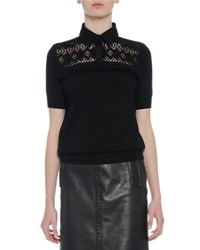 Bottega Veneta Crocheted Cashmere Polo Top Black Nero