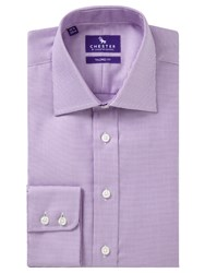 Chester Barrie By Mini Chevron Tailored Fit Shirt Lilac