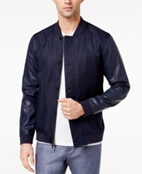 Ryan Seacrest Distinction Men's Slim Fit Navy Herringbone Varsity Bomber Jacket Created For Macy's