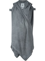 Lost And Found Rooms Waterfall Hem Hooded Gilet Grey