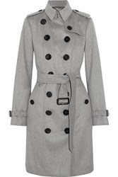Burberry The Sandringham Cashmere Trench Coat Gray