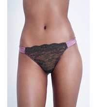 Myla Heritage Silk Stretch Silk Satin Thong Mauve Slate