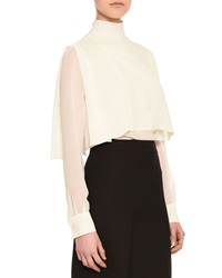 Valentino High Collar Layered Cape Blouse