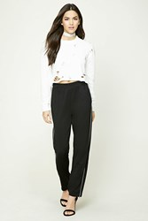 Forever 21 Zippered Ankle Sweatpants Black White