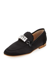 Frayed Satin Loafer W Jewel Strap Black