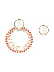 Anton Heunis Slogan Hoop Earrings Red