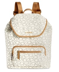 Calvin Klein Monogram Backpack Almond Khaki Camel