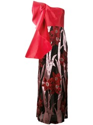Christian Pellizzari One Shoulder Floral Gown Red