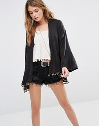 Kiss The Sky Lightweight Festival Cardigan With Coin Trim Black