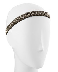 Deepa Gurnani Rhinestone Railroad Headwrap Black Gold