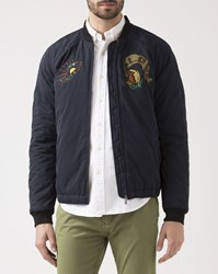 Scotch And Soda Navy Blue Embroidered Bomber Jacket