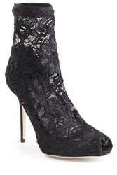 Dolce And Gabbana Lace Peep Toe Ankle Boots