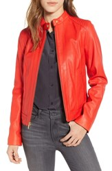 Cole Haan Leather Moto Jacket Red