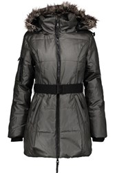 W118 By Walter Baker Kim Faux Fur Trimmed Coated Cotton Hooded Coat Anthracite