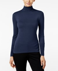 Alfani Long Sleeve Ruched Turtleneck Top Modern Navy