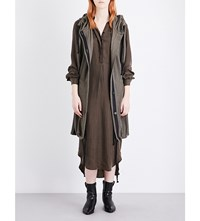 Ann Demeulemeester Hooded Ribbed Cotton Cardigan Khaki