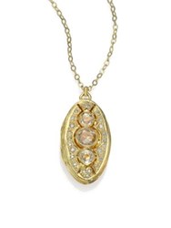 Ila Edana White Sapphire Diamond And 14K Yellow Gold Locket Necklace