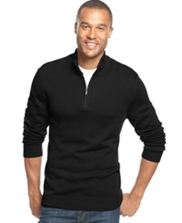 John Ashford Big And Tall Solid Quarter Zip Sweater Deep Black