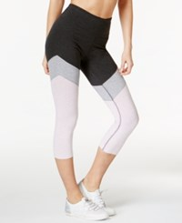 Calvin Klein Performance High Rise Cropped Colorblocked Leggings Pearl Grey Heather Blossom Combo