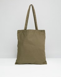 Asos Tote Bag In Khaki Khaki Green