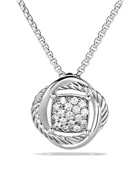 David Yurman Infinity Pendant With Diamonds On Chain Silver