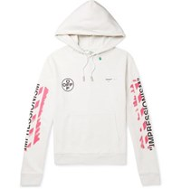 Off White Logo Print Loopback Cotton Jersey Hoodie White