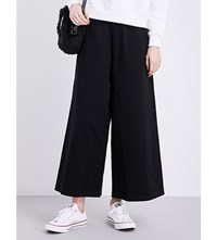 Mini Cream Wide Leg Cotton Twill Trousers Black