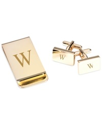 Bey Berk Monogrammed Gold Plated Rectangular Design Cufflinks And Money Clip Gift Set W