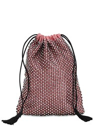 Ca And Lou Ballerina Crystal Net Satin Pouch Coral Pink