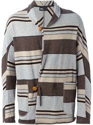 Kolor Striped Shawl Neck Cardigan Grey