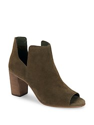 Steve Madden Open Toe Leather Booties Olive