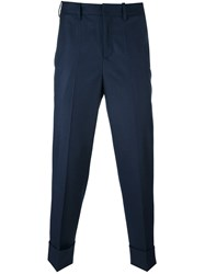 Neil Barrett Skinny Fit Cropped Trousers Blue