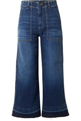 Veronica Beard Lou Cropped High Rise Wide Leg Jeans Blue