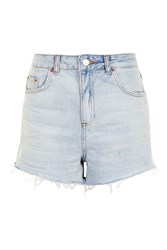 Topshop Moto Bleach High Waisted Shorts Bleach Denim