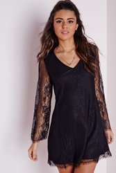 Missguided Lace Overlay Long Sleeve Swing Dress Black Black