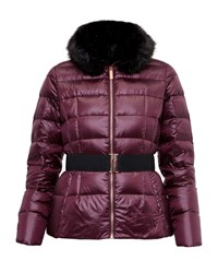 Ted Baker Junnie Faux Fur Collar Quilted Jacket Maroon