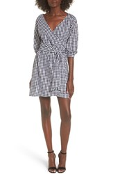Love Fire Women's Cotton Poplin Wrap Dress Black White Gingham