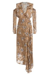 Preen By Thornton Bregazzi Printed Dress With Cut Out Shoulders And Embellishment Gold