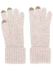N.Peal Ribbed Gloves With Touch Screen Tips Nude And Neutrals